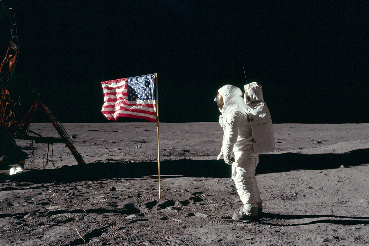 Buzz Aldrin Salutes the US Flag